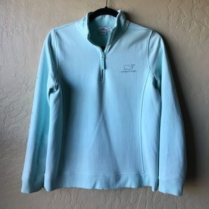 Vineyard Vines crystal blue & silver foil zip
